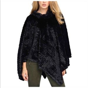 Black Mock Neck Poncho Soft OSFM